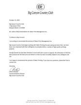 Letter of Recommendation - Big Canyon Country Club